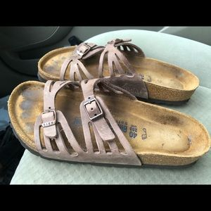 Birkenstock Women's Cream Leather Slide On Sandals